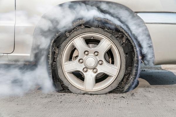 bursted car tire
