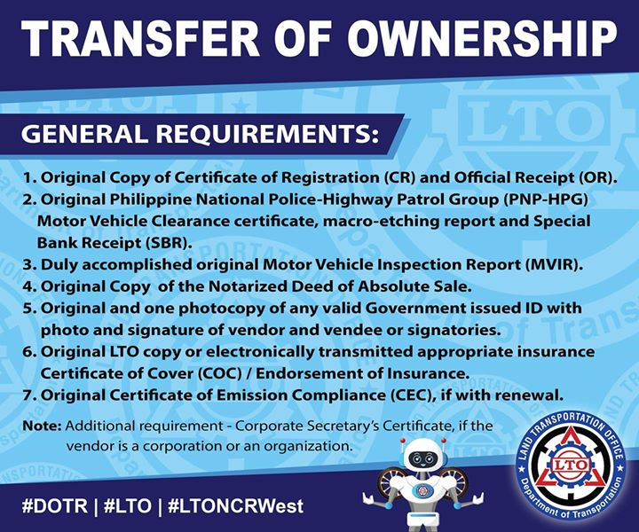 documents needed for transferring car ownership