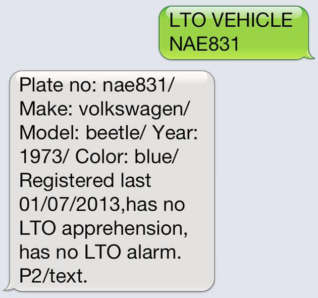 Verify lto plate number via text
